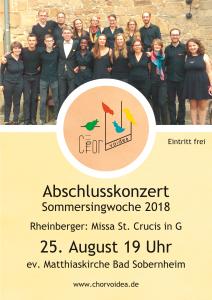 Plakat Abschlusskonzert Sommer 2018. Am 25. August um 19 Uhr in der Matthiaskirche Sobernheim